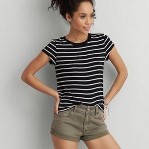 AEO Soft & Sexy Black & White Striped Tee